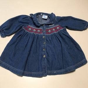 Oshkosh Baby B'gosh Vtg Smocked Dress 18 Months